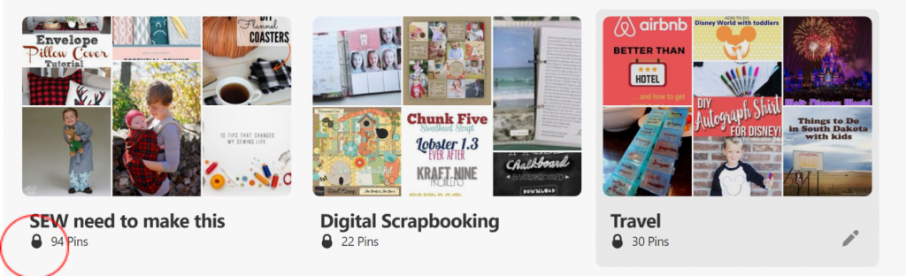 Example of secret boards on pinterest with padlock icon