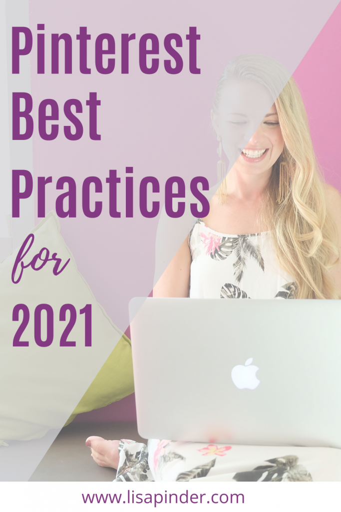 """Woman on laptop smiling with caption """"Pinterest Best Practices for 2021"""""""