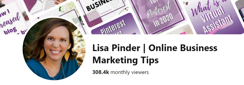 Image of Pinterest Manger business name on Pinterest, showing keyword use.