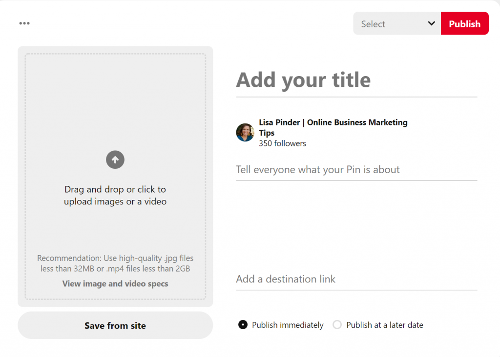 Example of the Create a New Pin page in Pinterest