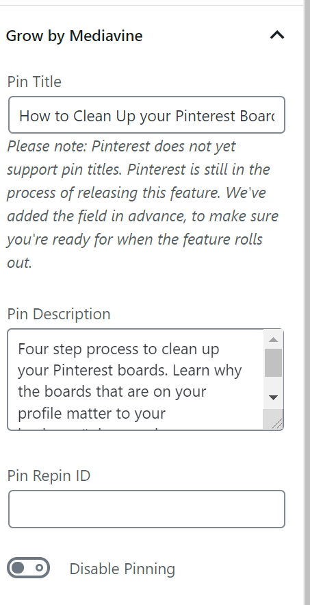 Screen shot of pin description in grow by mediavine