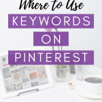 white ipad on desk with text overlay where to use keywords on Pinterest