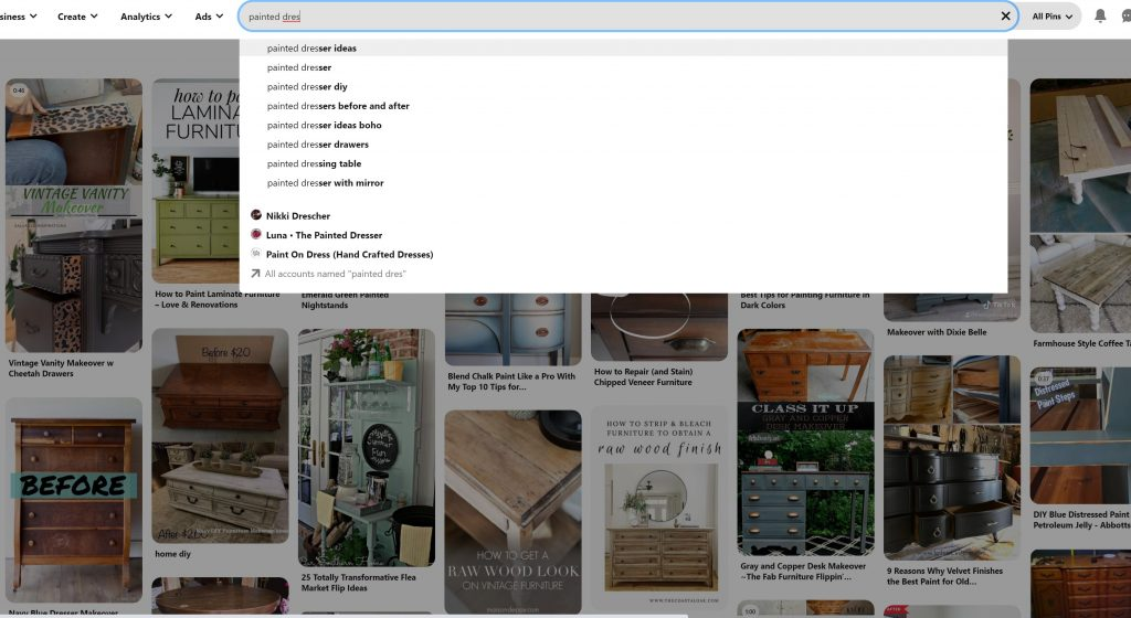 Pinterest search screen, typing in search for Painted Dresser ideas