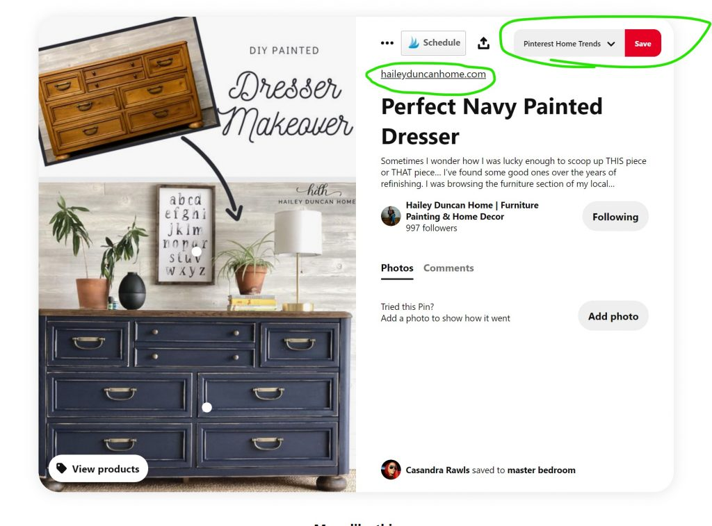 Example pin image of a dresser before and after picture.