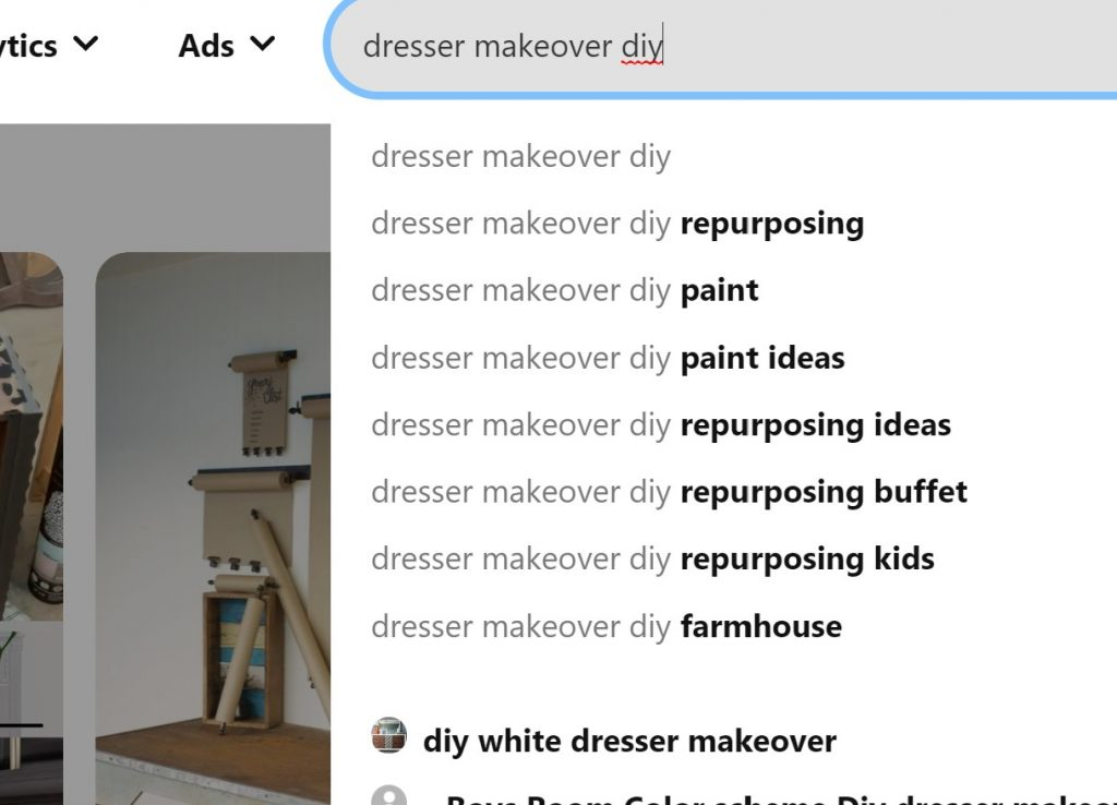 Pinterest search bar with the term Dresser Makeover DIY