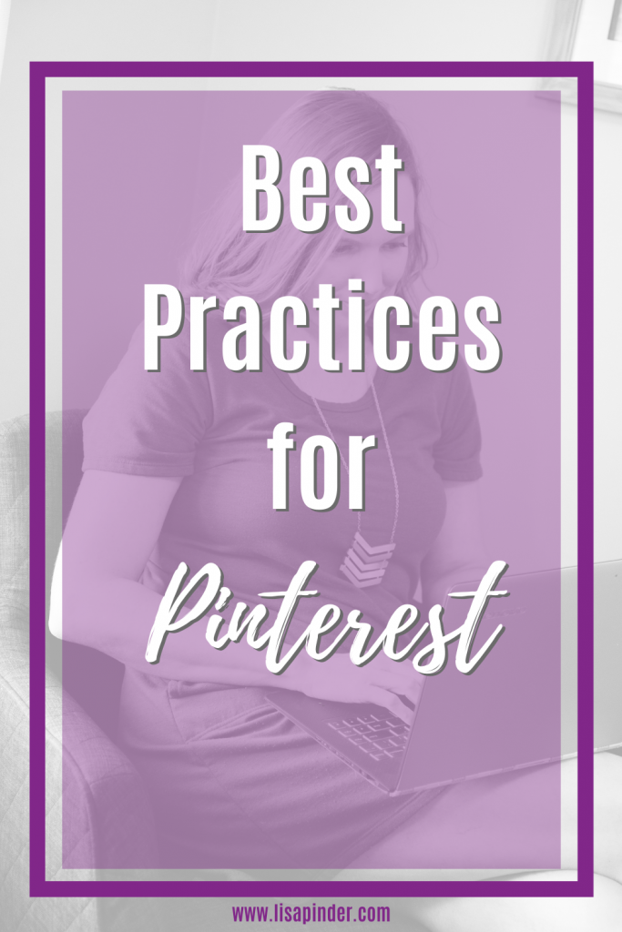 """Purple overlay on woman on laptop with text """"Best Practices for Pinterest"""""""